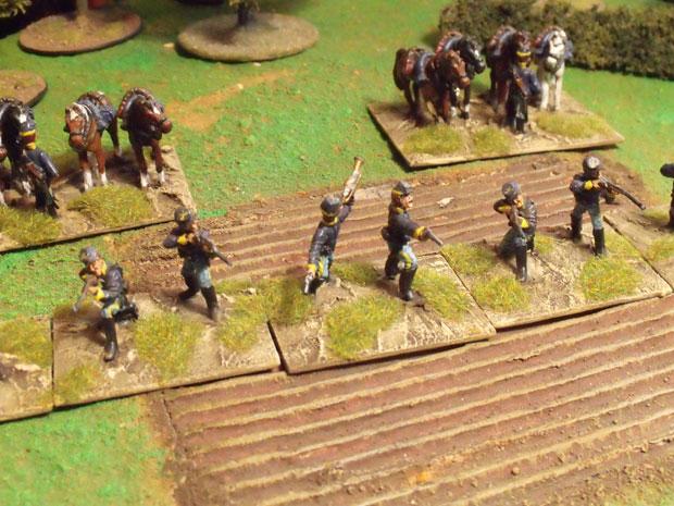 A line of Union cavalry skirmishing.