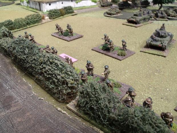 British Infantry dug in.