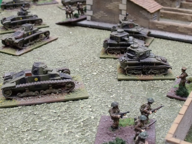 Moving up in support MAtilda I's and Vickers Light tanks