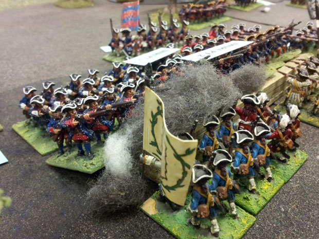 Prussian Infantry engage the French in Lainieres