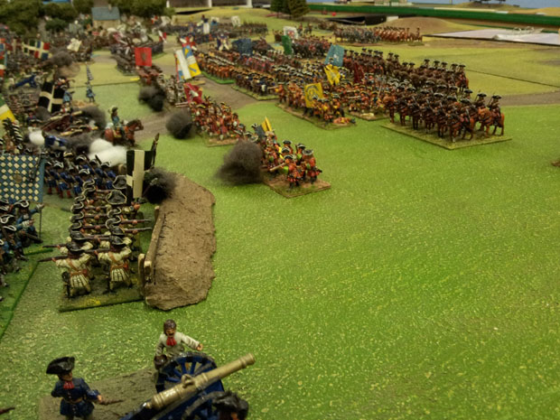 Troops advance into the French right wing