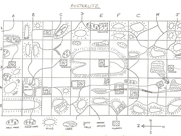 The Map of Austerlitz used at the Centre.